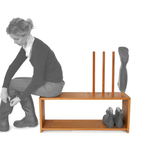 Oak boot and shoe rack with seat for 2 pairs of wellingtons and shoes
