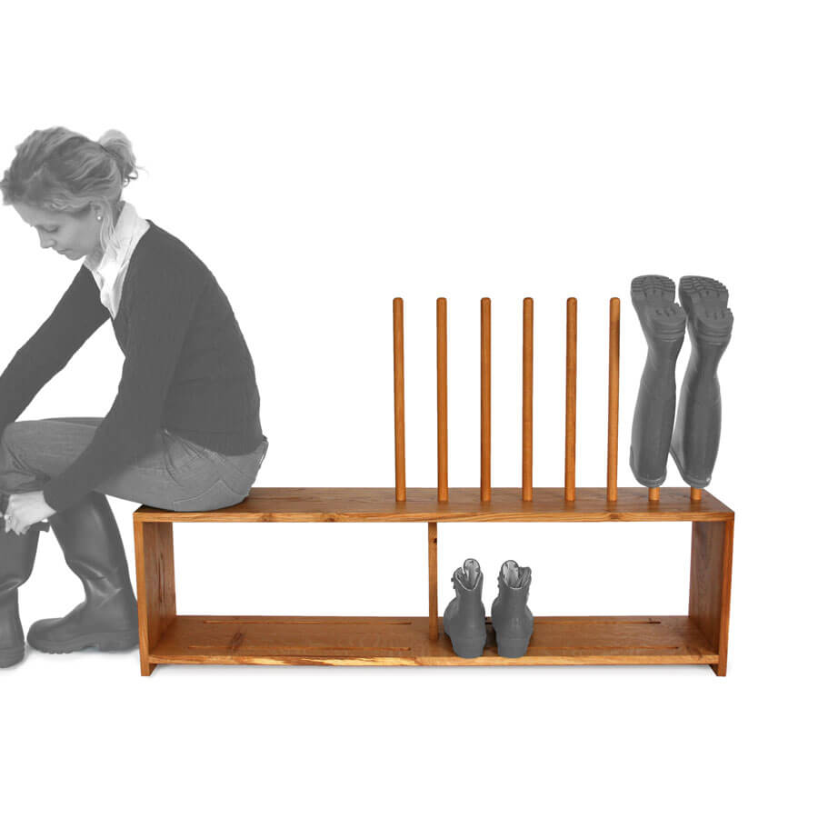 oak welly and shoe rack with seat 4prs of boots boot saw. Black Bedroom Furniture Sets. Home Design Ideas