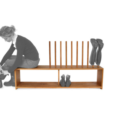 Oak boot and shoe rack with seat for 5 pairs of wellingtons and shoes