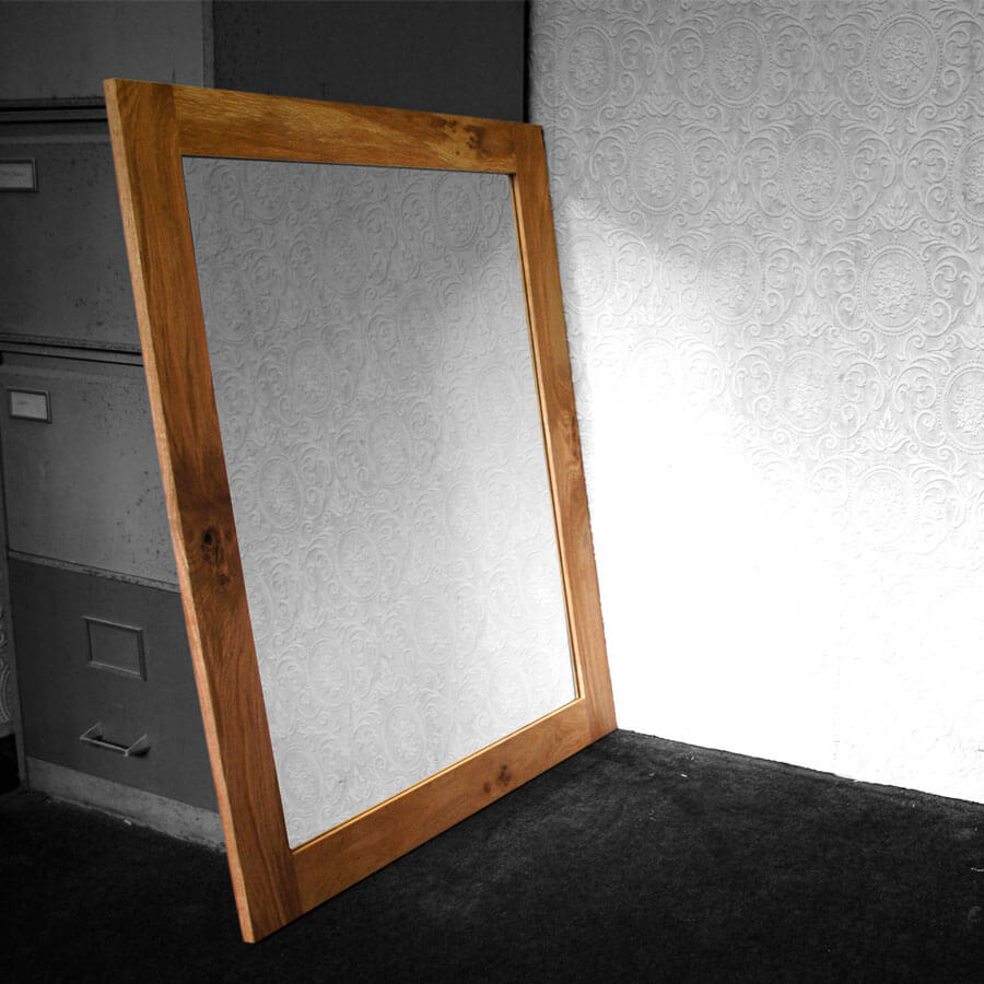 Oak framed mirror large for Large framed bathroom wall mirrors