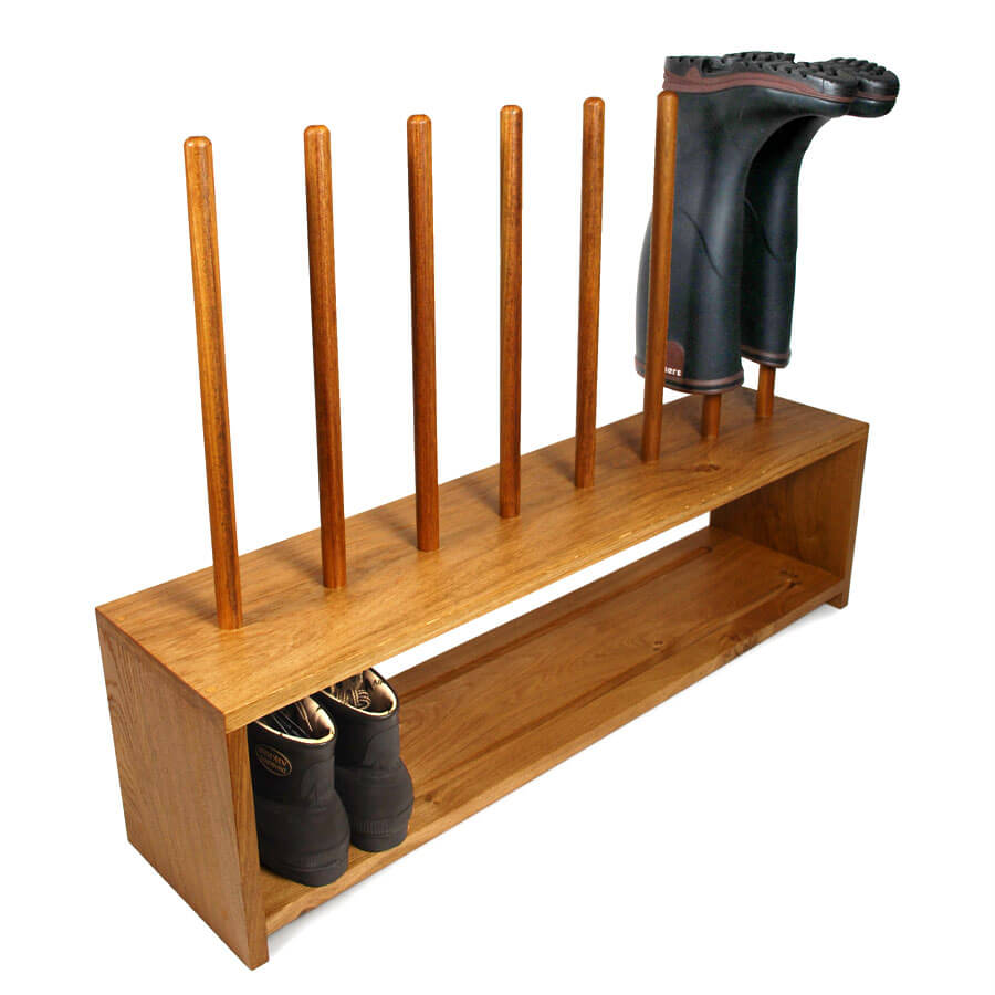 oak wellington and shoe rack 4 pair boot and saw