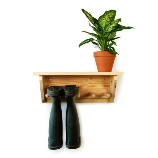 Pine Wall Hanging Welly Rack for 2 pairs of wellingtons