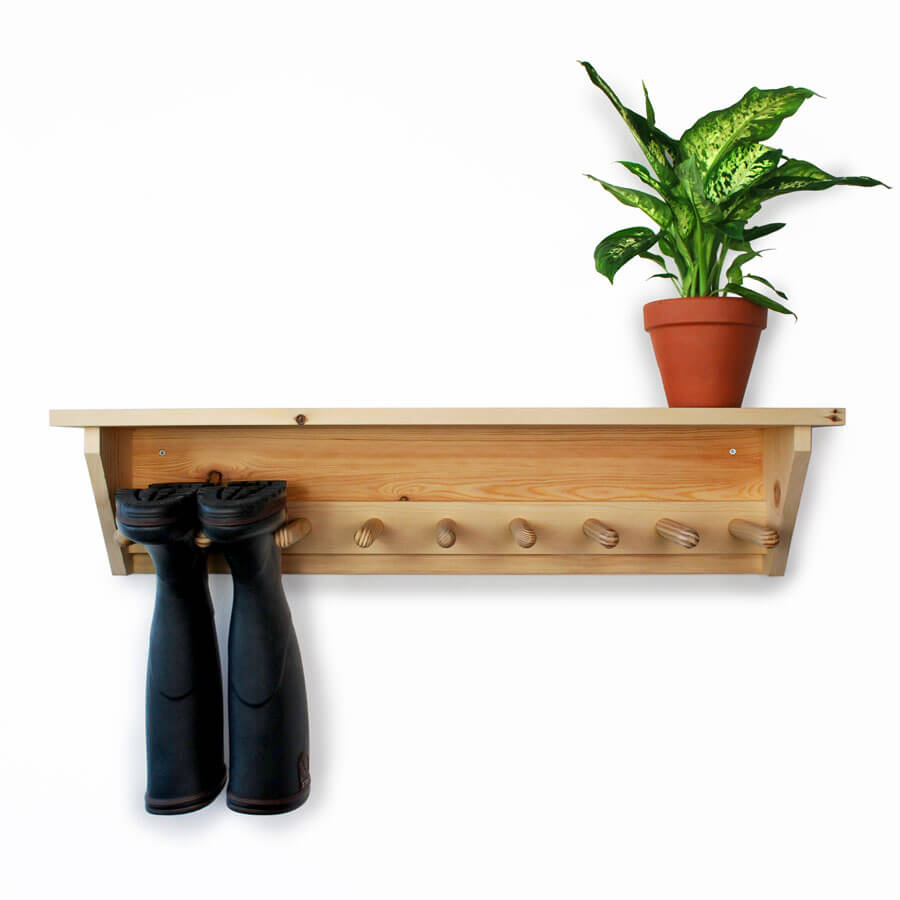 Perfect Free Coat And Boot Rack Image: Wooden Wall Hanging Welly Rack For 4prs Of Boots