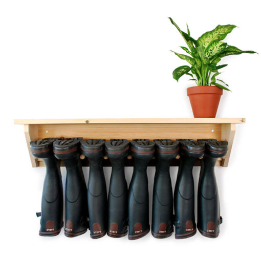 Wooden Wall Hanging Welly Rack for 4 pairs of boots