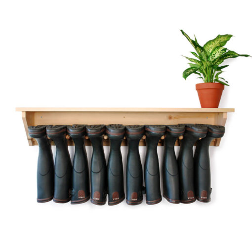 Wooden Wall Hanging Welly Rack for 5 pairs of boots