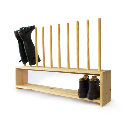 Wooden Welly Boot Rack for 4 pairs of shoes and wellingtons