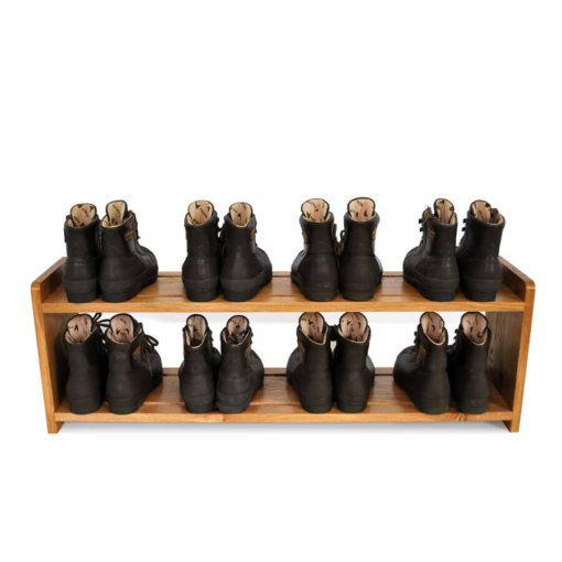 Oak Shoe Rack for 8 pairs of shoes with 2 shelves