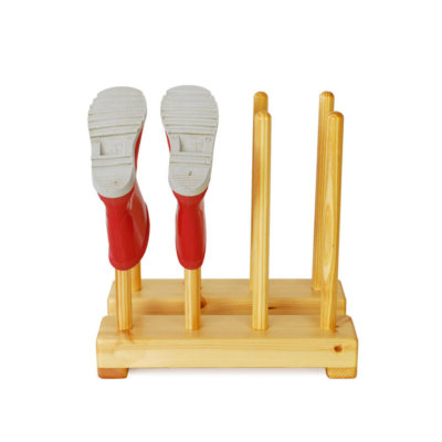 Kids wooden welly rack for 4 pairs of childrens boots