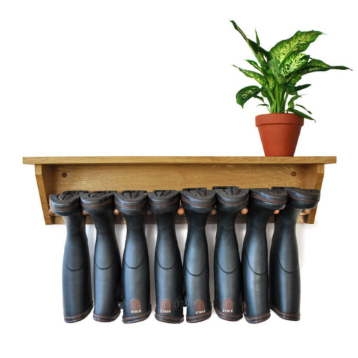 Oak Wall Mounted Welly Rack for 4 pairs of boots