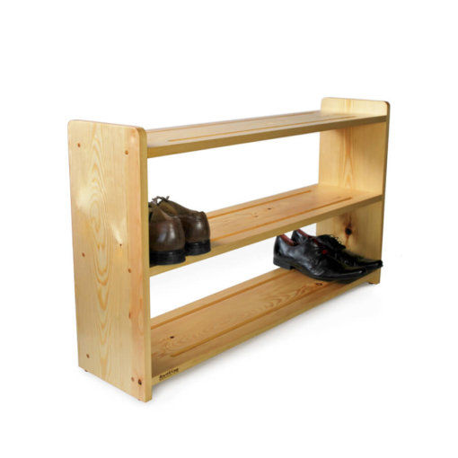 Solid Pine wooden shoe rack with 3 shoe shelves