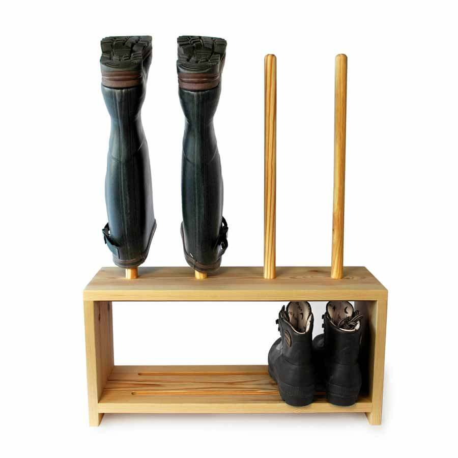 wooden welly boot and shoe rack for 2prs of boots boot saw. Black Bedroom Furniture Sets. Home Design Ideas