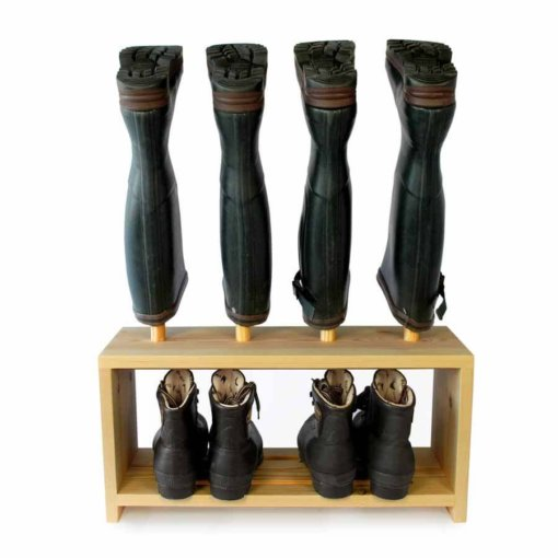 Wooden Welly Boot Rack for 2 pairs of shoes and wellies