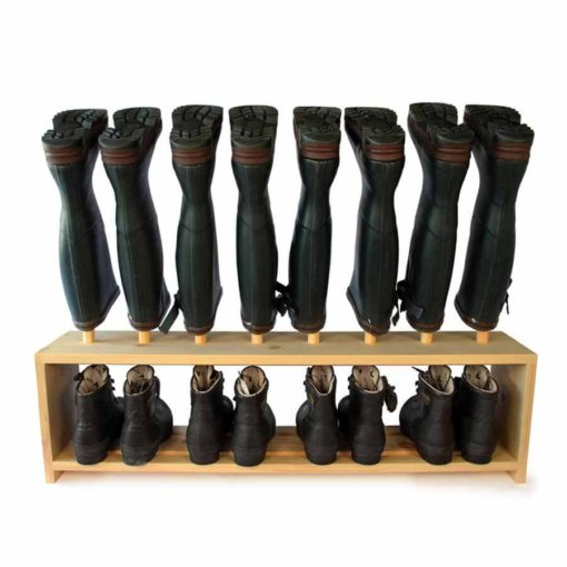 Wooden Welly Boot Rack for 4 pairs of shoes and wellies