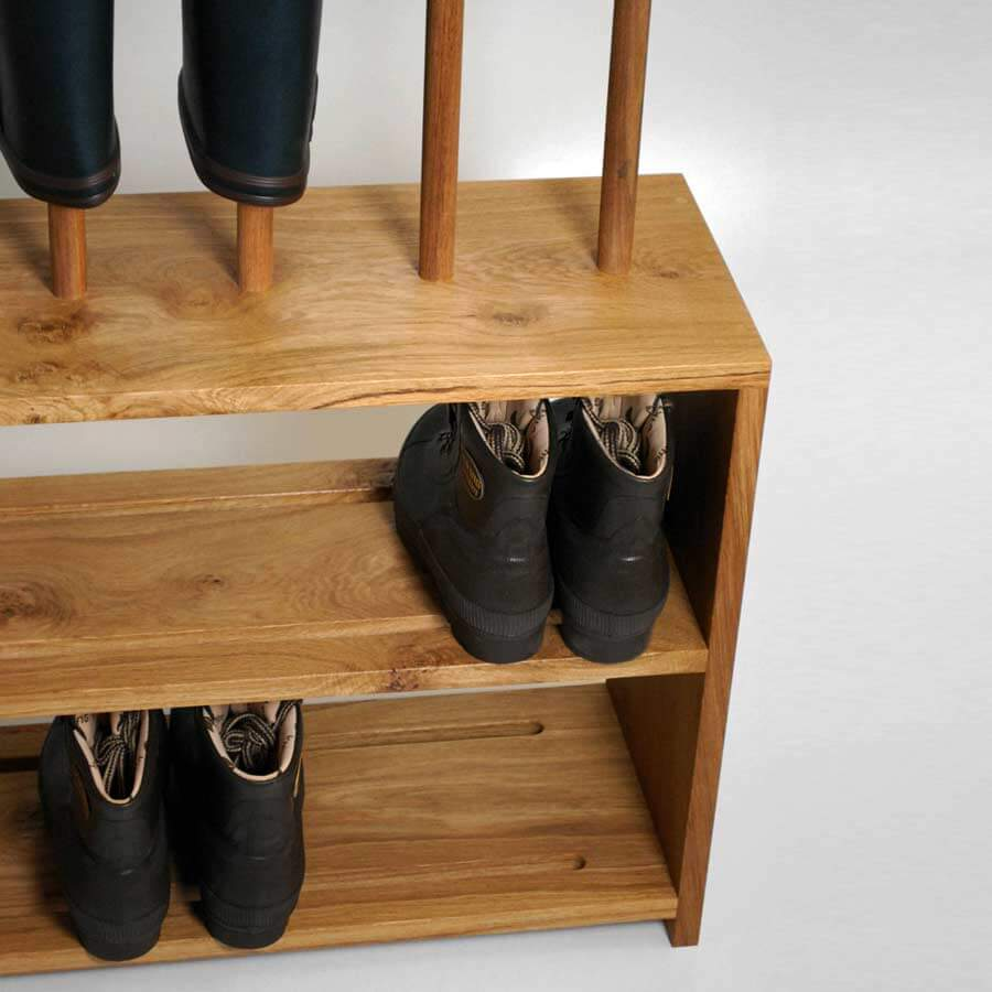 oak welly and shoe rack with seat 5 pair