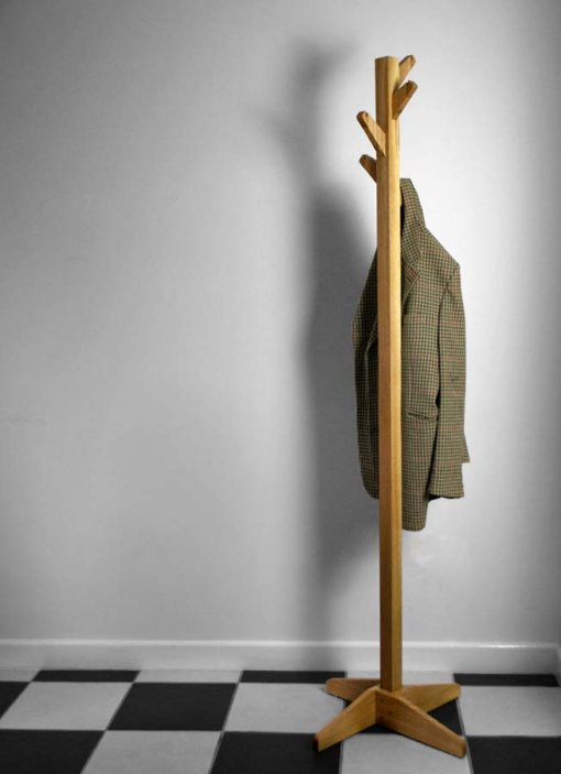 Oak Coat Tree Coat Stand in use
