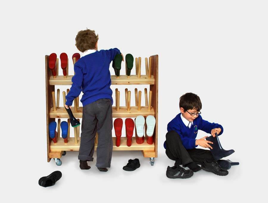 School and nursery wellington boot storage racks