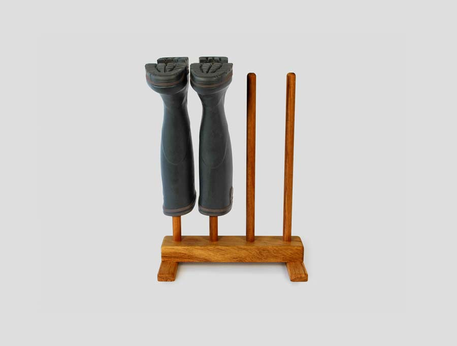 Wooden footwear storage including wellington stands and shoe racks