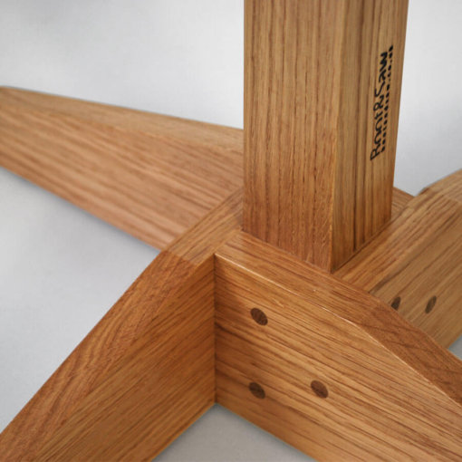 Oak Coat Stand base in detail