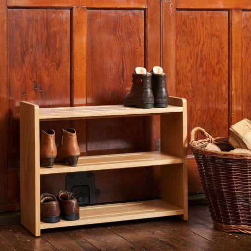 Oak Shoe Rack with 3 shelves